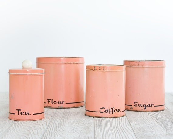 Melon Kitchen Canisters with Black Cursive Type