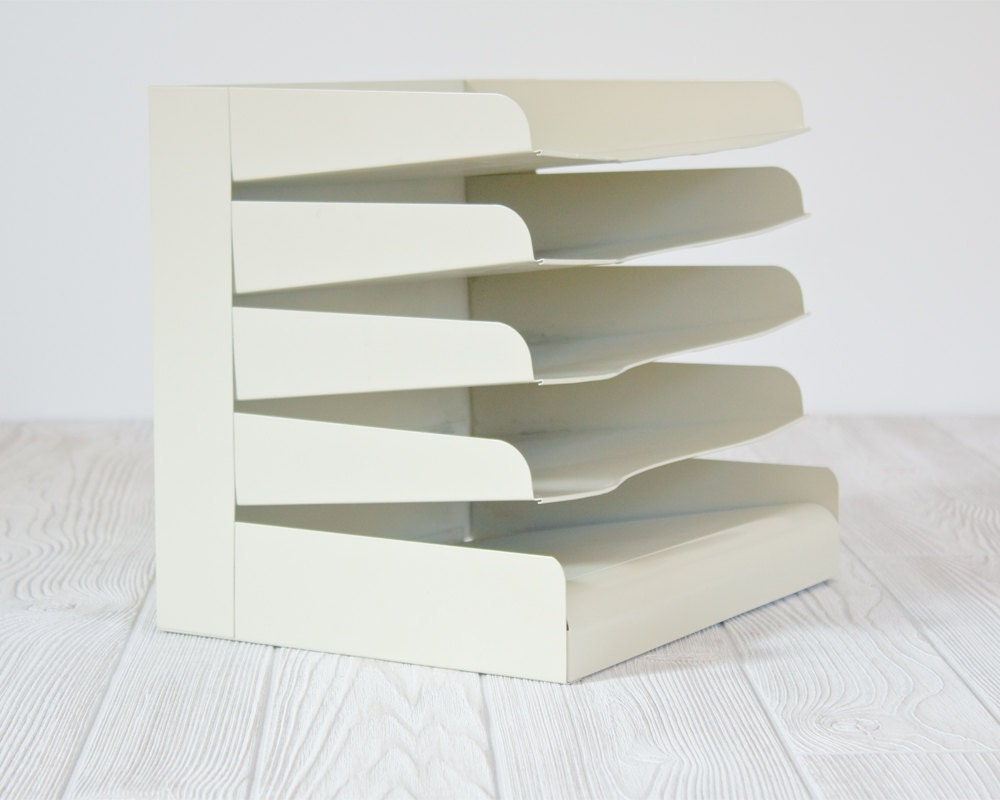 Vintage Industrial Metal Paper Organizer