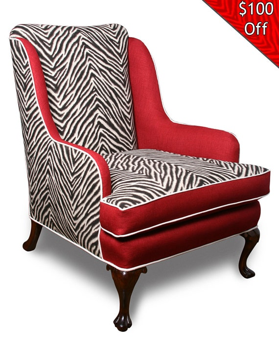 Zebra Print Wingback Chair