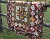 Handmade Quilt: Tobacco rose antique reproduction in browns and red