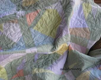 Crazy quilt in pastels, modern lap quilt, gender neutral baby quilt