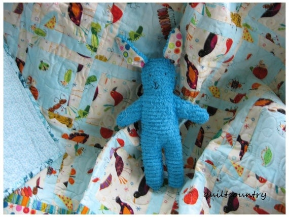 Patchwork boys quilt,  crib quilt, toddler blanket, modern crib blanket with funky birds and friendly bugs
