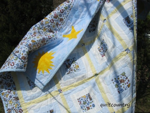 handmade baby quilt, boys crib quilt, toddler quilt, blue and white log cabin, cowboy baby bedding