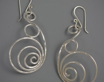 Bubbly Spirals Earrings, Sterling Silver, Elements, TeddiHosmanDesigns, Jewelry for Confident Women