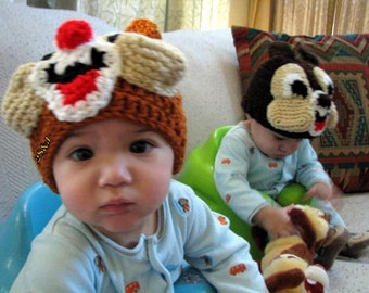 Crochet Chipmunks Hats, twins hat,  (choose one hat)
