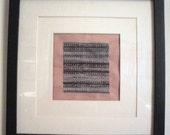 Small Framed and Matted Hand-Embroidered French Knot and Chevron Wall Decor