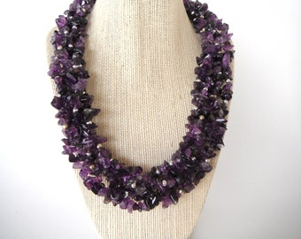 Amethyst Purple Torsade with Silver Beads Necklace Gift fashion under 50