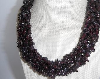 Deep Red Garnet Chip 5 Strand Braided Necklace Torsade Ruby silver Gift fashion under 50