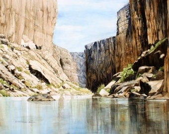 Santa Elena Canyon, Big Bend National Park, Rio Grande Watercolor Reproduction