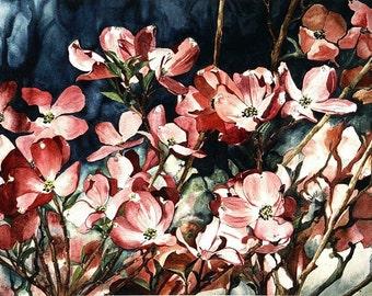 Pink Dogwood Tree Watercolor Reproduction by Wanda Zuchowski-Schick