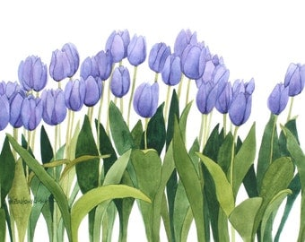 Purple Tulip Row Original Watercolor Painting