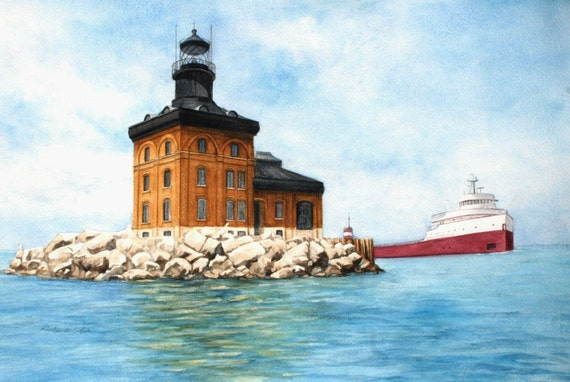 Toledo Harbor Light Lake Erie With The Edmund Fitzgerald