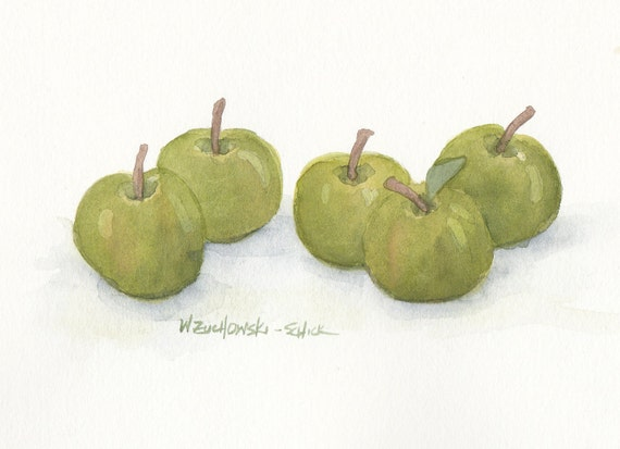 Green Apples Original Watercolor