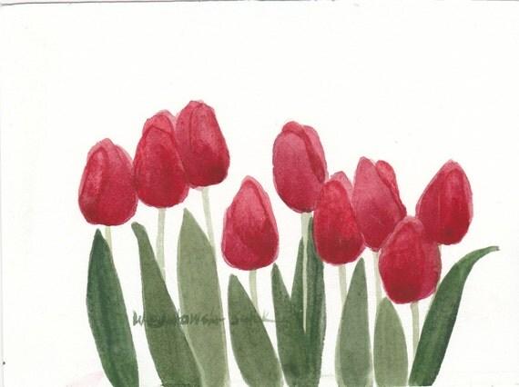 Red Tulips Original Watercolor Painting