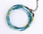 Wrap Around bracelet - hand dyed cotton thread - turquoise, yellow