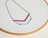 RESERVED for Heather (Bespoke)   Arrow Necklace - inverted chevron - mint and fuchsia