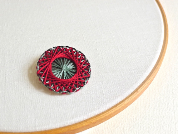 Geometric Cotton Thread Brooch - baby blue and strawberry red