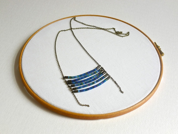 Breastplate Necklace -wrapped cotton thread - tribal necklace