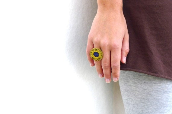 Geometric Statement Ring - yellow and blue cotton thread