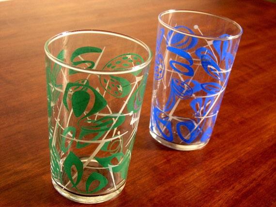 Eames era drinking glasses with atomic print, set of 2