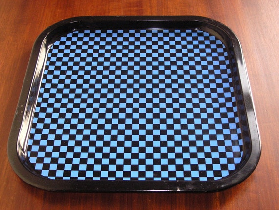 RESERVED 60s tin serving tray, black and blue checkered