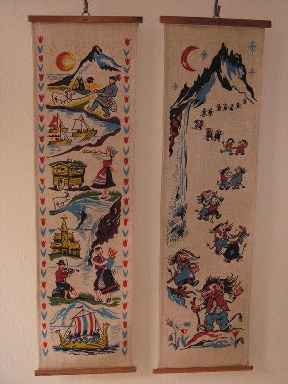 Vintage Swedish wall art, set of 2 fabric panels