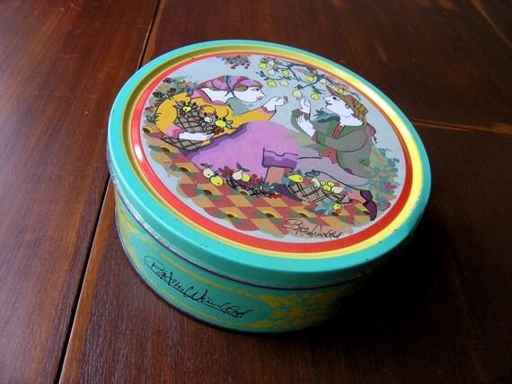 Bjorn Wiinblad tin canister, autumn (4 seasons)
