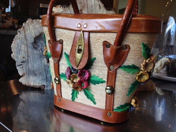 RESERVED: 1970s // Woven Straw Floral and Leather Bucket Purse