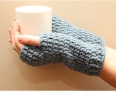 Crochet Fingerless Gloves, Dusty Blue