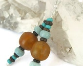 CLEARANCE Amazonite Beaded Earrings, Funky Bone & Gemstone Beaded Earrings, Aqua Blue, Golden Amber, READY To SHIP