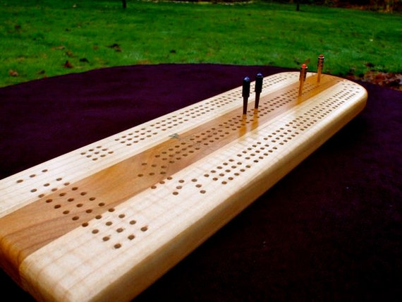 Cribbage Board No. 6 Fiddleback Maple and Wild Cherry