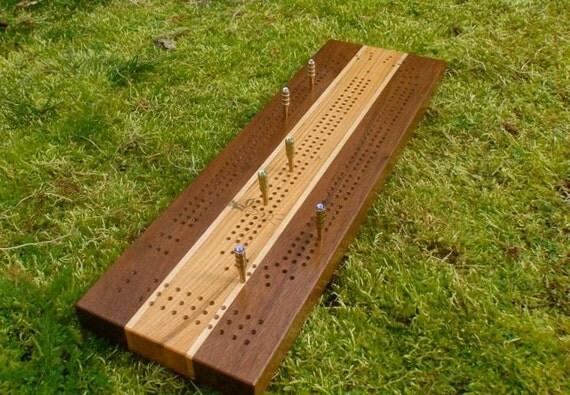 Cribbage Board No. 24  Black Walnut and Cherry w/sound