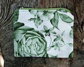 Green Monochrome Floral Change Purse - Wallet - Zipper Pouch - Nature Print Card Holder