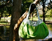RESERVED For Jade in NDG - Large Purse: Eco-friendly Bright Green Pleated Butter Cup Shoulder Bag