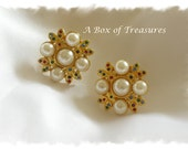 Vintage Gold Tone Pearl Earringswith  Multi-color Rhinestone Clip Earrings - Holiday Jewelry - Christmas