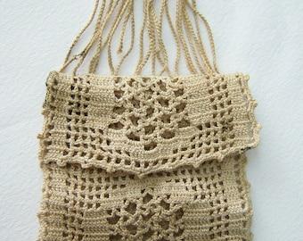 Crochet linen change purse 1890-1910