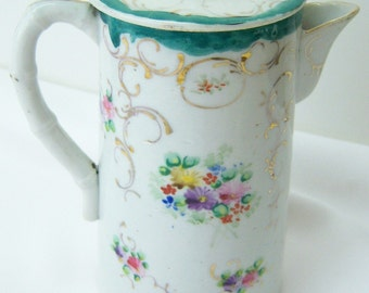 Antique Chocolate Pot hand painted