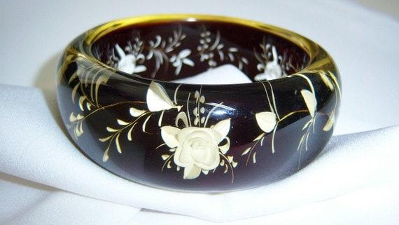 Lucite floral reverse carved cuff bracelet