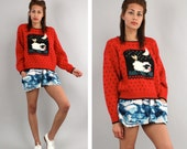 80's Novelty Folk Sweater // Heart Print // Wool Sweater // Square Neck // 2 4 6 S