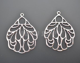 2pcs - Rhodium Plated Oriental Fan Pendants (B0010R)