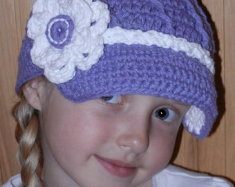 Crochet Hat Pattern - Twisted Newsboy Crochet Hat Pattern with Flower -  Instant Download