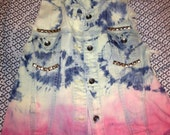 Hand studded tie dyed/dip dyed vest