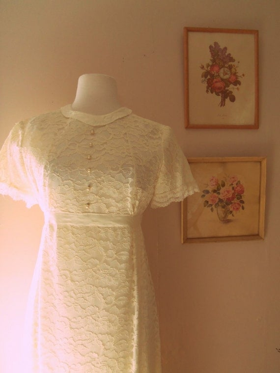 My Dearest Darling 1960s White Lace Wedding Dress with Pearl Buttons/Silk/Scallop Trim