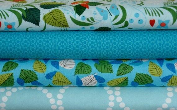 LAST ONE Lizzy House Fabric - 4 Fat Quarter Bundle Hello Pilgrim