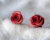 Pretty Peony Pink Rosette Rose flower bud stud earrings