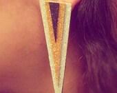 Silver, gold & black Glitter Foam Lightweight Triangle earrings W01