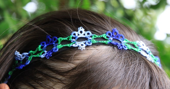 Tatting pattern for a flower headband.  Visual graph PDF instant download or email.