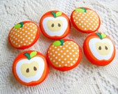 Fabric Buttons, Fabric covered button, Red Orange Apple Set 6pcs,25mm, woman, summer, spring, cute ,quilt, handmade