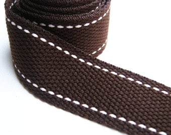 Cotton bag handle, Plain Brown Cut with Cream Line Cotton Webbing, 2 Yards Bag supply, tote bag handle, Bag strap Handle, handbag handle