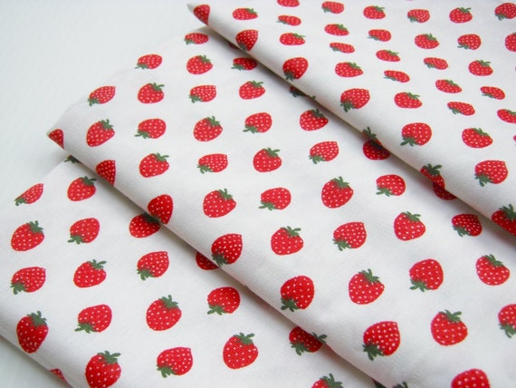 Cotton Fabric Pink White Red Sweet Strawberry 1 Meter, Cotton Printed 100%, woman, gift for mom, flower,sakura fabric, ipad case